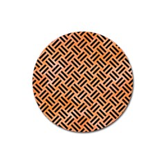 Woven2 Black Marble & Orange Watercolor Magnet 3  (round) by trendistuff