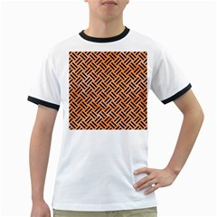 Woven2 Black Marble & Orange Watercolor Ringer T Shirts