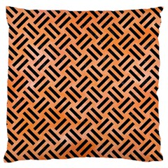 Woven2 Black Marble & Orange Watercolor Large Cushion Case (two Sides) by trendistuff