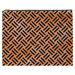 Woven2 Black Marble & Orange Watercolor Cosmetic Bag (xxxl)  by trendistuff