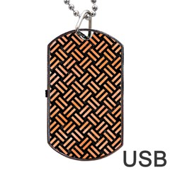 Woven2 Black Marble & Orange Watercolor (r) Dog Tag Usb Flash (two Sides) by trendistuff