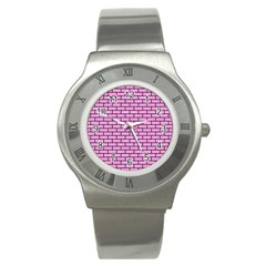 Brick1 Black Marble & Pink Colored Pencil Stainless Steel Watch by trendistuff
