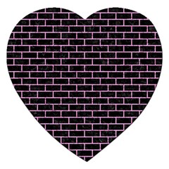 Brick1 Black Marble & Pink Colored Pencil (r) Jigsaw Puzzle (heart) by trendistuff