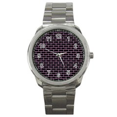 Brick1 Black Marble & Pink Colored Pencil (r) Sport Metal Watch by trendistuff