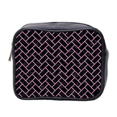 Brick2 Black Marble & Pink Colored Pencil (r) Mini Toiletries Bag 2 Side by trendistuff