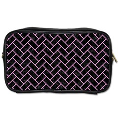 Brick2 Black Marble & Pink Colored Pencil (r) Toiletries Bags by trendistuff