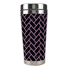 Brick2 Black Marble & Pink Colored Pencil (r) Stainless Steel Travel Tumblers by trendistuff