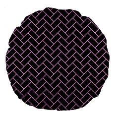 Brick2 Black Marble & Pink Colored Pencil (r) Large 18  Premium Flano Round Cushions by trendistuff