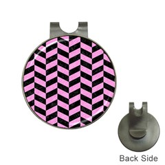 Chevron1 Black Marble & Pink Colored Pencil Hat Clips With Golf Markers