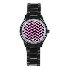 Chevron1 Black Marble & Pink Colored Pencil Stainless Steel Round Watch by trendistuff