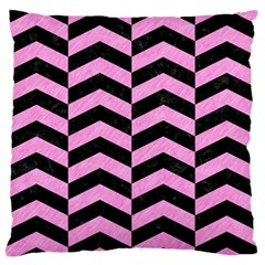Chevron2 Black Marble & Pink Colored Pencil Large Flano Cushion Case (two Sides) by trendistuff