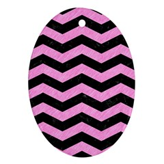 Chevron3 Black Marble & Pink Colored Pencil Ornament (oval) by trendistuff