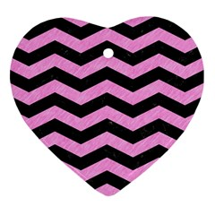 Chevron3 Black Marble & Pink Colored Pencil Heart Ornament (two Sides) by trendistuff