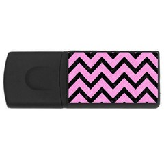 Chevron9 Black Marble & Pink Colored Pencil Rectangular Usb Flash Drive by trendistuff
