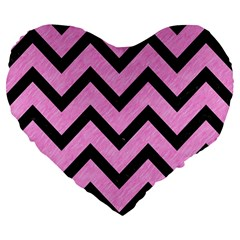 Chevron9 Black Marble & Pink Colored Pencil Large 19  Premium Flano Heart Shape Cushions by trendistuff