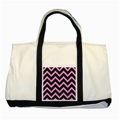 Chevron9 Black Marble & Pink Colored Pencil (r) Two Tone Tote Bag by trendistuff