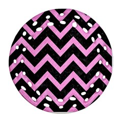 Chevron9 Black Marble & Pink Colored Pencil (r) Ornament (round Filigree) by trendistuff