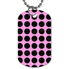 Circles1 Black Marble & Pink Colored Pencil Dog Tag (two Sides) by trendistuff
