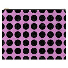 Circles1 Black Marble & Pink Colored Pencil Cosmetic Bag (xxxl)  by trendistuff