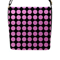 Circles1 Black Marble & Pink Colored Pencil (r) Flap Messenger Bag (l)  by trendistuff
