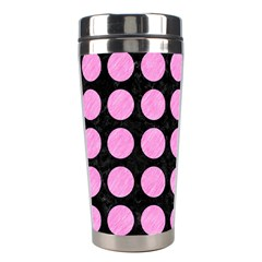 Circles1 Black Marble & Pink Colored Pencil (r) Stainless Steel Travel Tumblers by trendistuff