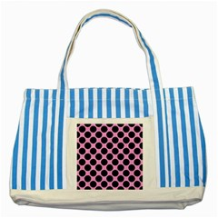 Circles2 Black Marble & Pink Colored Pencil Striped Blue Tote Bag by trendistuff
