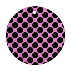 Circles2 Black Marble & Pink Colored Pencil Round Ornament (two Sides) by trendistuff