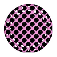 Circles2 Black Marble & Pink Colored Pencil Ornament (round Filigree) by trendistuff