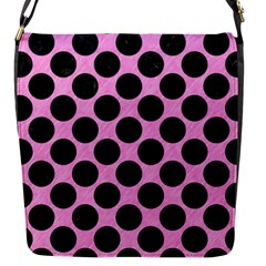 Circles2 Black Marble & Pink Colored Pencil Flap Messenger Bag (s) by trendistuff