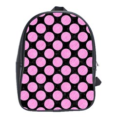 Circles2 Black Marble & Pink Colored Pencil (r) School Bag (large) by trendistuff