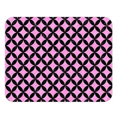 Circles3 Black Marble & Pink Colored Pencil Double Sided Flano Blanket (large)  by trendistuff