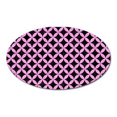 Circles3 Black Marble & Pink Colored Pencil (r) Oval Magnet by trendistuff