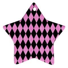 Diamond1 Black Marble & Pink Colored Pencil Ornament (star) by trendistuff