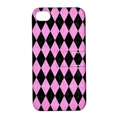 Diamond1 Black Marble & Pink Colored Pencil Apple Iphone 4/4s Hardshell Case With Stand by trendistuff