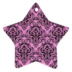 Damask1 Black Marble & Pink Colored Pencil Ornament (star) by trendistuff