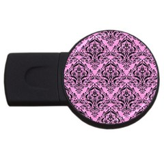 Damask1 Black Marble & Pink Colored Pencil Usb Flash Drive Round (4 Gb) by trendistuff