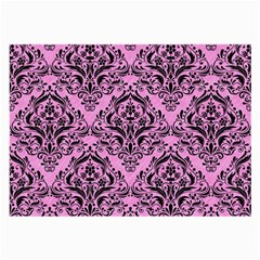 Damask1 Black Marble & Pink Colored Pencil Large Glasses Cloth (2 Side)