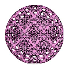 Damask1 Black Marble & Pink Colored Pencil Ornament (round Filigree) by trendistuff