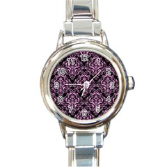 Damask1 Black Marble & Pink Colored Pencil (r) Round Italian Charm Watch