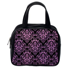 Damask1 Black Marble & Pink Colored Pencil (r) Classic Handbags (one Side) by trendistuff