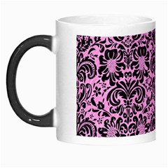 Damask2 Black Marble & Pink Colored Pencil Morph Mugs by trendistuff