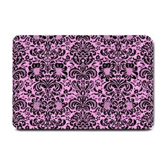 Damask2 Black Marble & Pink Colored Pencil Small Doormat  by trendistuff
