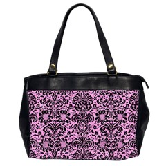 Damask2 Black Marble & Pink Colored Pencil Office Handbags (2 Sides)  by trendistuff