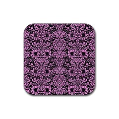 Damask2 Black Marble & Pink Colored Pencil (r) Rubber Square Coaster (4 Pack)
