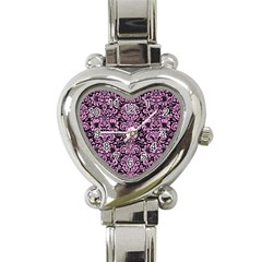 Damask2 Black Marble & Pink Colored Pencil (r) Heart Italian Charm Watch by trendistuff