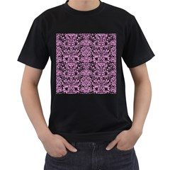 Damask2 Black Marble & Pink Colored Pencil (r) Men s T Shirt (black) (two Sided)