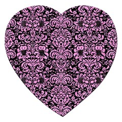 Damask2 Black Marble & Pink Colored Pencil (r) Jigsaw Puzzle (heart) by trendistuff