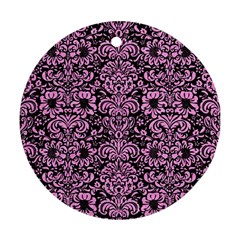 Damask2 Black Marble & Pink Colored Pencil (r) Round Ornament (two Sides) by trendistuff