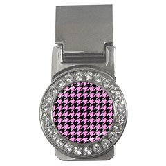 Houndstooth1 Black Marble & Pink Colored Pencil Money Clips (cz)