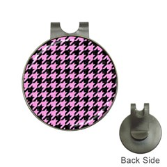 Houndstooth1 Black Marble & Pink Colored Pencil Hat Clips With Golf Markers by trendistuff